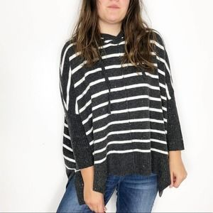 LOFT Charcoal Gray Striped Hooded Slouchy Sweater